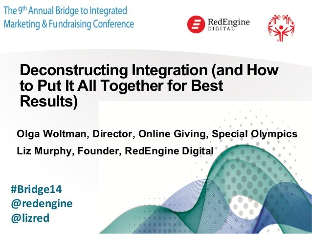 ! Deconstructing Integration (and How to Put It All Together for Best Results) Olga Woltman, Director, Online Giving, Spec...