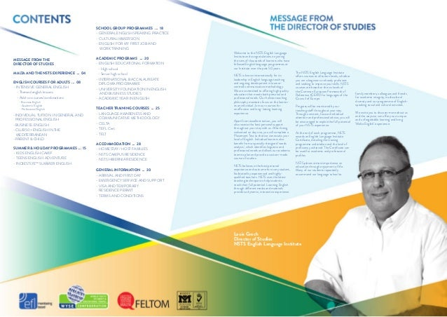 Nsts English Language Institute 2014 Courses Brochure