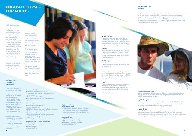 Nsts english language institute 2014 courses brochure for Brochure design for training institute
