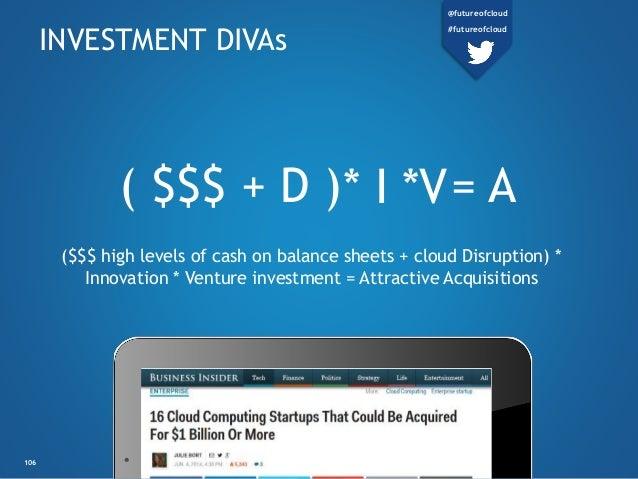 *V( $$$ + D ) = A INVESTMENT DIVAs ($$$ high levels of cash on balance sheets + cloud Disruption) * Innovation * Venture i...