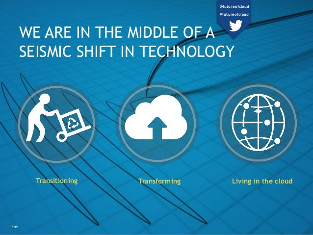109 WE ARE IN THE MIDDLE OF A SEISMIC SHIFT IN TECHNOLOGY Transitioning Living in the cloudTransforming @futureofcloud #fu...