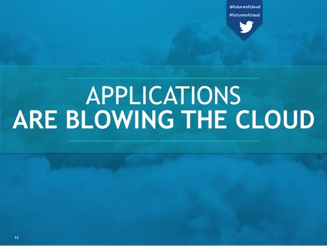 APPLICATIONS ARE BLOWING THE CLOUD 13 @futureofcloud #futureofcloud