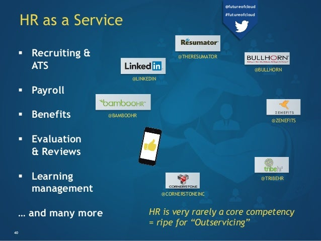HR as a Service 40  Recruiting & ATS  Payroll  Benefits  Evaluation & Reviews  Learning management … and many more HR...