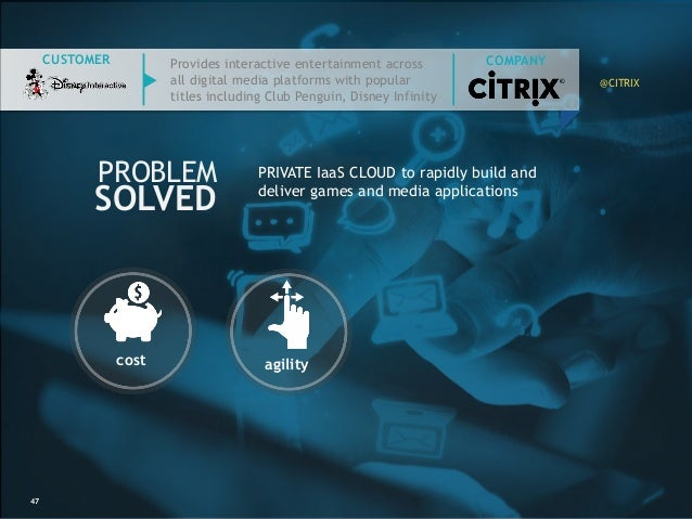 47 PROBLEM SOLVED CUSTOMER cost agility PRIVATE IaaS CLOUD to rapidly build and deliver games and media applications Provi...