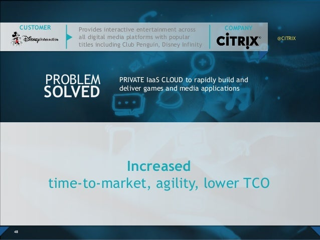 Increased time-to-market, agility, lower TCO 48 PRIVATE IaaS CLOUD to rapidly build and deliver games and media applicatio...
