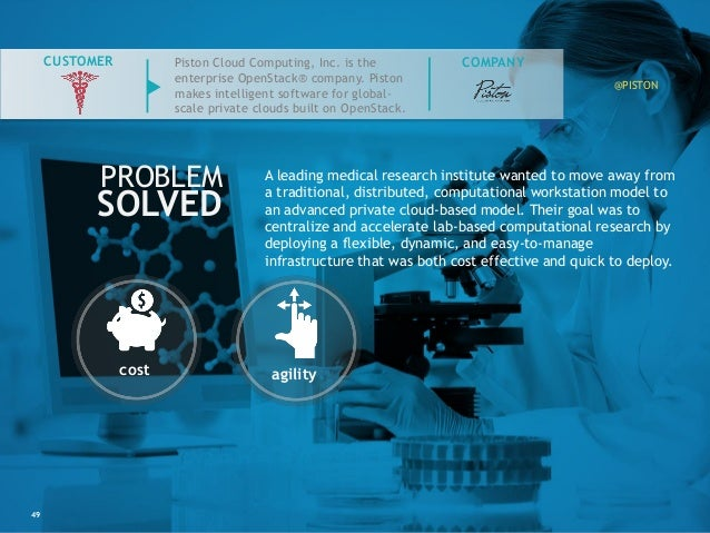 49 COMPANY PROBLEM SOLVED CUSTOMER cost agility A leading medical research institute wanted to move away from a traditiona...