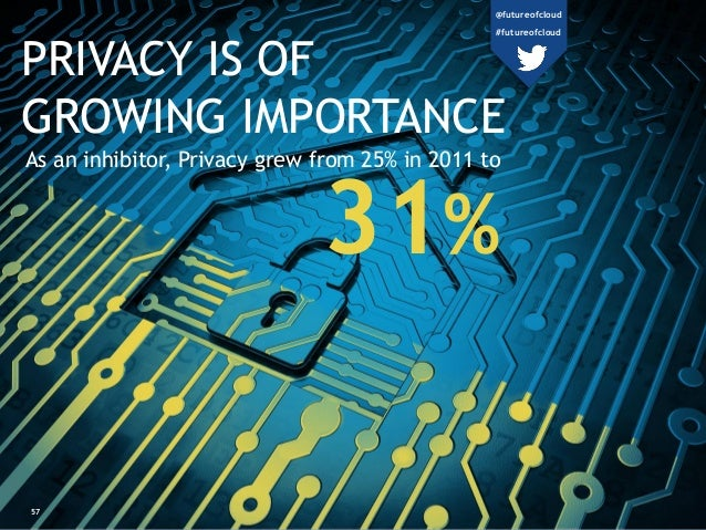 57 PRIVACY IS OF GROWING IMPORTANCE As an inhibitor, Privacy grew from 25% in 2011 to 31% @futureofcloud #futureofcloud