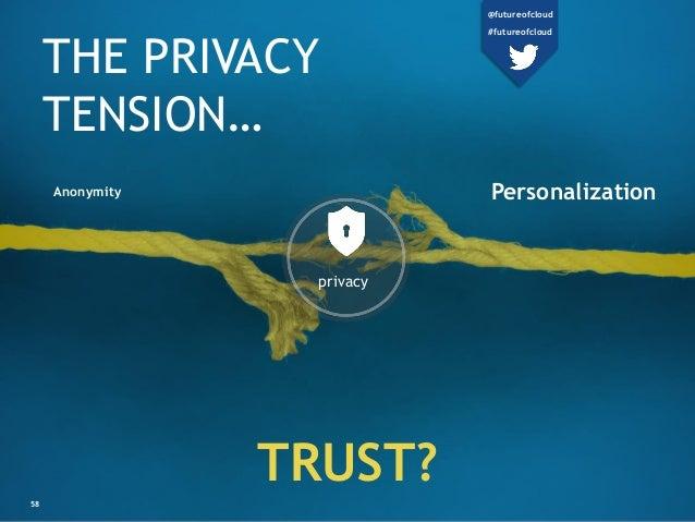 THE PRIVACY TENSION… TRUST? PersonalizationAnonymity 58 privacy @futureofcloud #futureofcloud