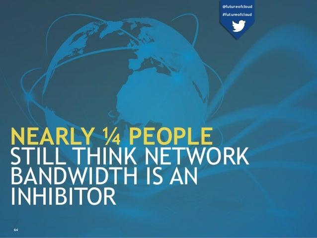 64 NEARLY ¼ PEOPLE STILL THINK NETWORK BANDWIDTH IS AN INHIBITOR @futureofcloud #futureofcloud
