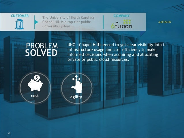 67 COMPANY PROBLEM SOLVED CUSTOMER UNC - Chapel Hill needed to get clear visibility into it infrastructure usage and cost ...
