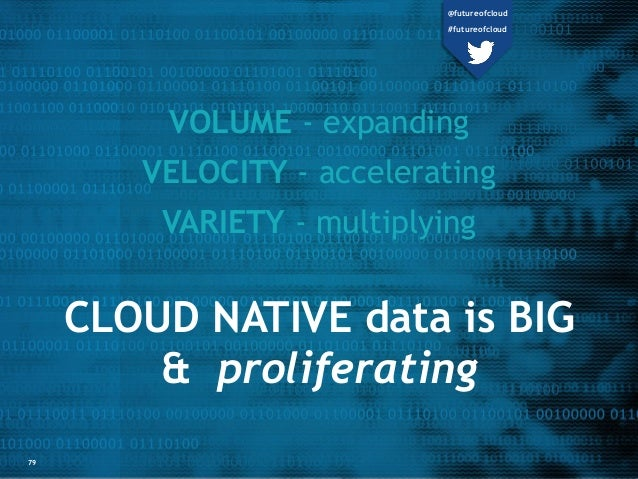 CLOUD NATIVE data is BIG & proliferating VOLUME - expanding VELOCITY - accelerating VARIETY - multiplying 79 @futureofclou...