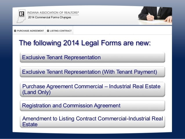 2014 Commercial Forms Changes Indiana Association Of Realtors