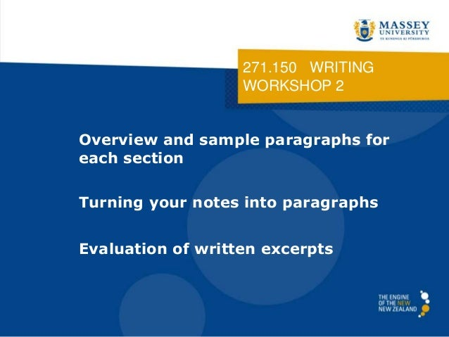 271.150 WRITING WORKSHOP 2 Overview and sample paragraphs for each section Turning your notes into paragraphs Evaluation o...