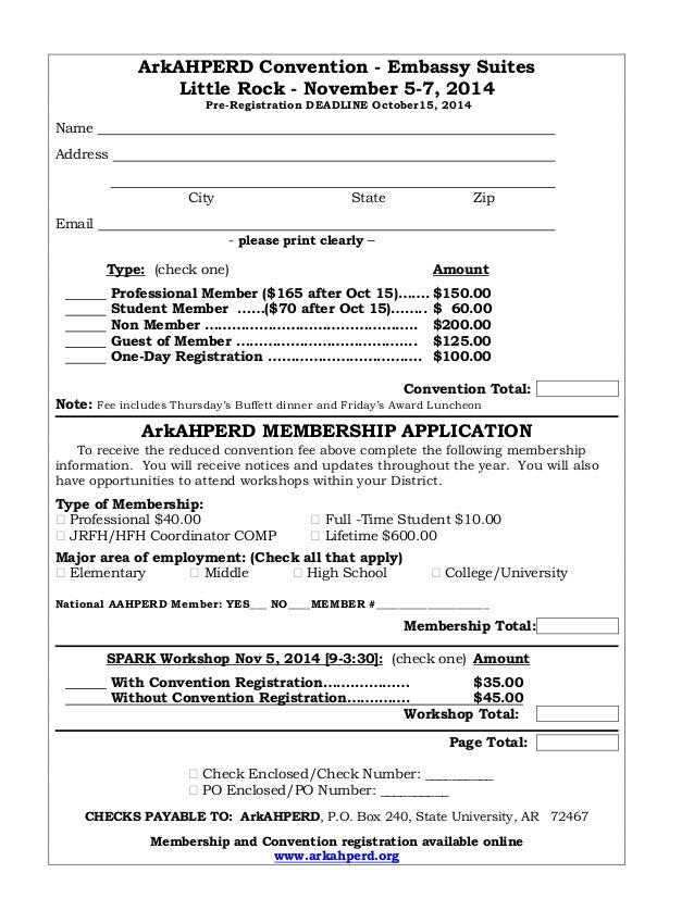 2014 convention pre registration form ark ahperd membership spark arkahperd convention embassy suites little rock november 5 7 2014 pre thecheapjerseys Gallery