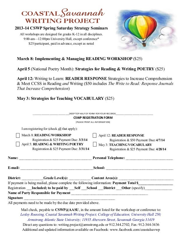 2013-14 CSWP Spring Saturday Strategy Seminars All workshops are designed for grades K-12 in all disciplines. 9:00-am—12:0...