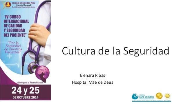 Cultura de la Seguridad  Elenara Ribas  Hospital Mãe de Deus