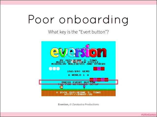 """Poor onboarding What key is the """"Evert button""""?  Eversion, © Zaratustra Productions #UXinGames"""