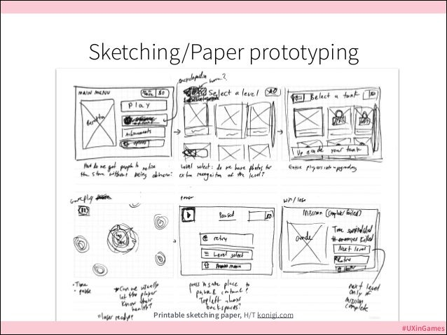 Sketching/Paper prototyping  Printable sketching paper, H/T konigi.com #UXinGames