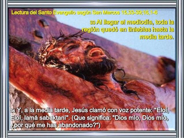 Lectura del Santo Evangelio según San Marcos 15,33-39;16,1-6  33 Al llegar el mediodía, toda la  región quedó en tinieblas...