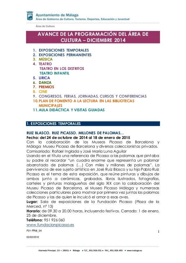 ACTIVIDADES CULTURA DICIEMBRE 2014