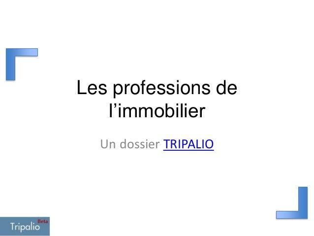 Les professions de l'immobilier Un dossier TRIPALIO