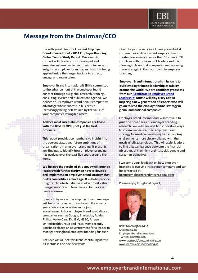 MessagefromtheChairman/CEO  ItiswithgreatpleasureIpresentEmployer BrandInternational's2014EmployerBrand...
