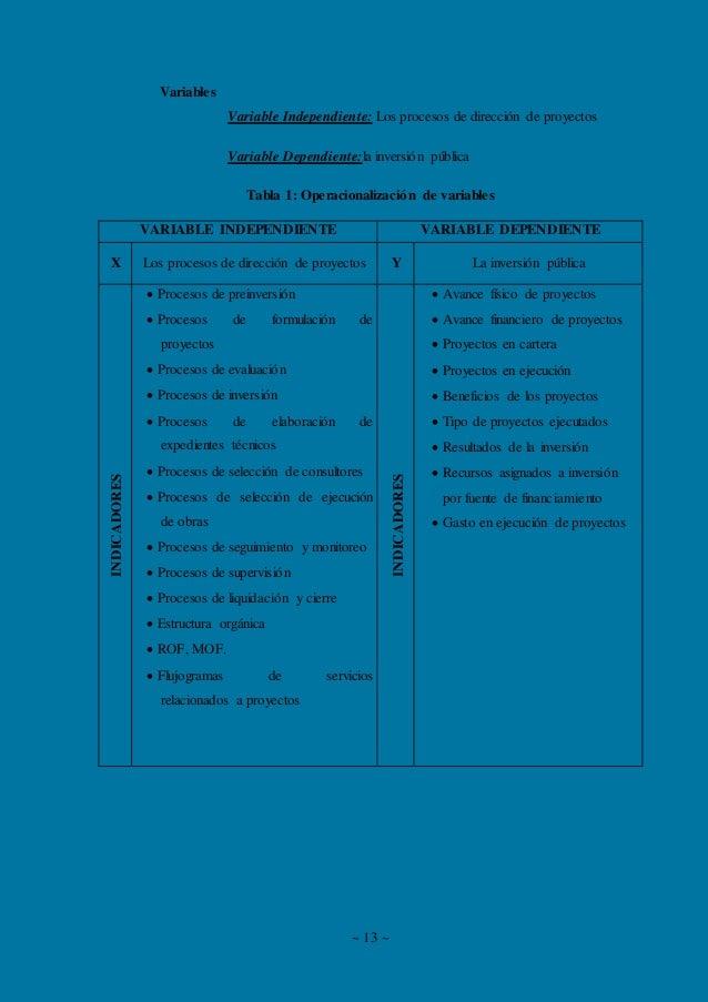 ~ 13 ~ Variables Variable Independiente: Los procesos de dirección de proyectos Variable Dependiente:la inversión pública ...
