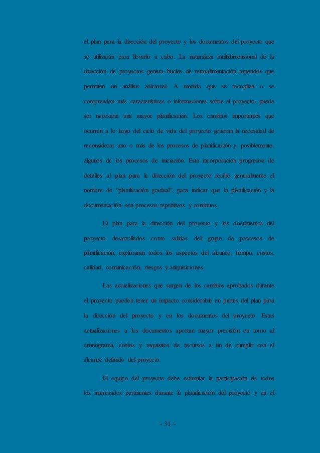 ~ 31 ~ el plan para la dirección del proyecto y los documentos del proyecto que se utilizarán para llevarlo a cabo. La nat...
