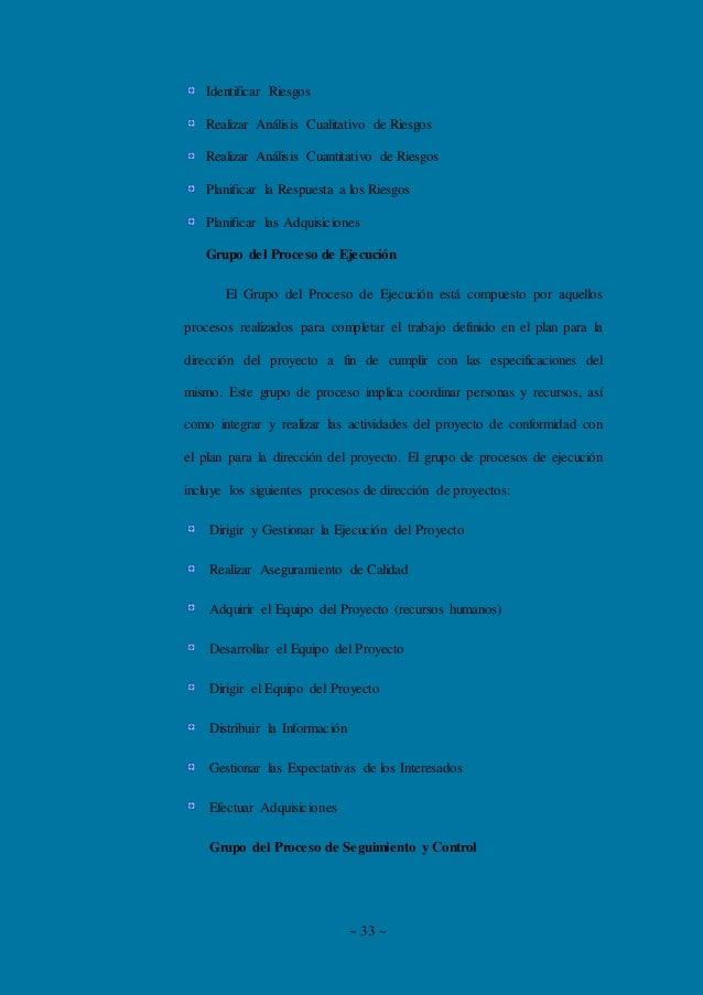 ~ 33 ~ Identificar Riesgos Realizar Análisis Cualitativo de Riesgos Realizar Análisis Cuantitativo de Riesgos Planificar l...