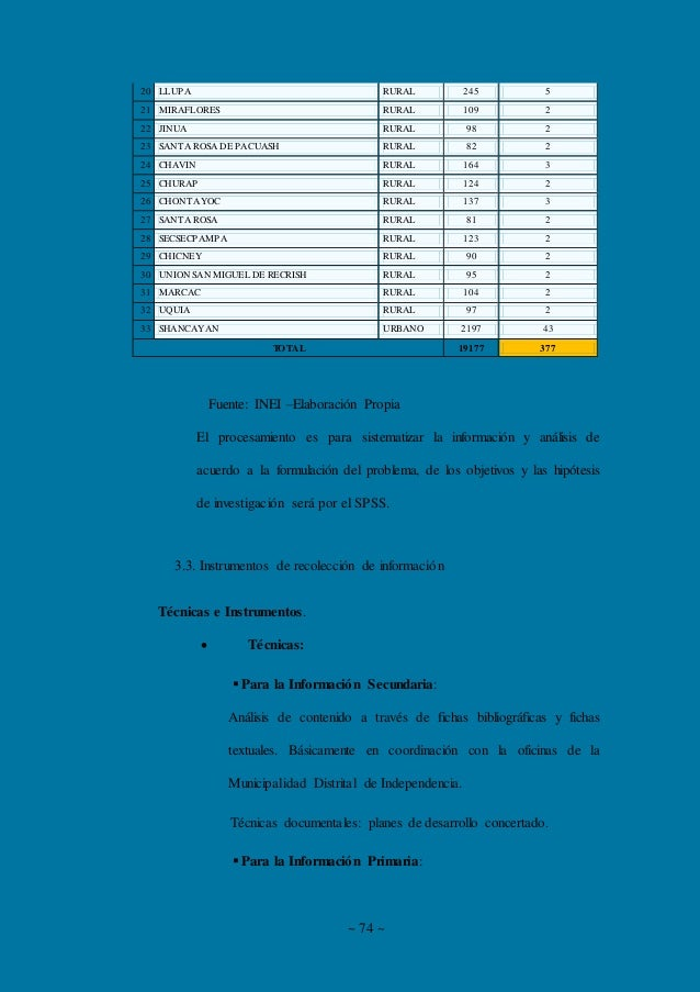 ~ 74 ~ 20 LLUPA RURAL 245 5 21 MIRAFLORES RURAL 109 2 22 JINUA RURAL 98 2 23 SANTA ROSA DE PACUASH RURAL 82 2 24 CHAVIN RU...