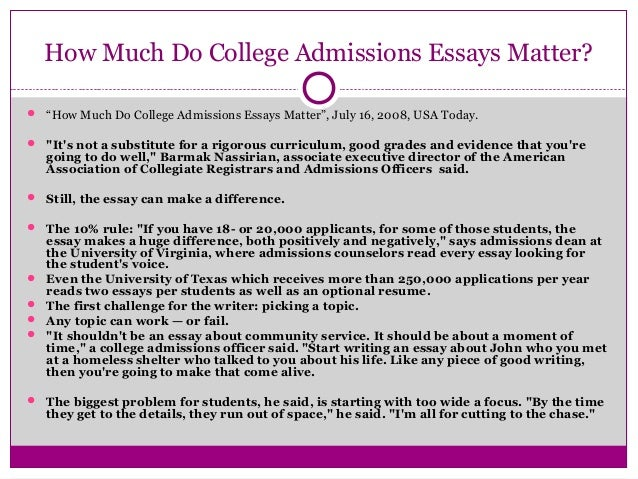 College application essay length