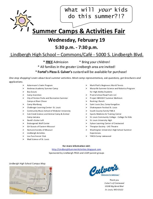 What will your kids do this summer?!?  Summer Camps & Activities Fair Wednesday, February 19 5:30 p.m. - 7:30 p.m. Lindber...