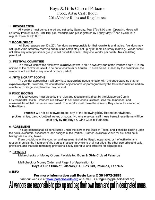 2014 food booth forms 1 – Food Vendor Contract