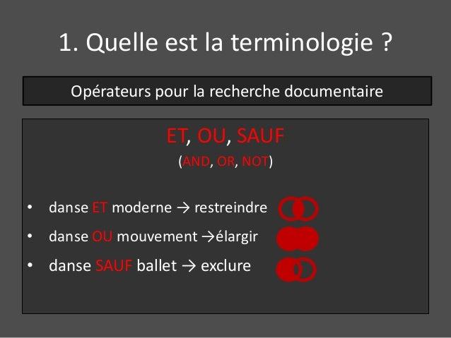 1. Quelle est la terminologie ?  Opérateurs pour la recherche documentaire  ET, OU, SAUF  (AND, OR, NOT)  • danse ET moder...
