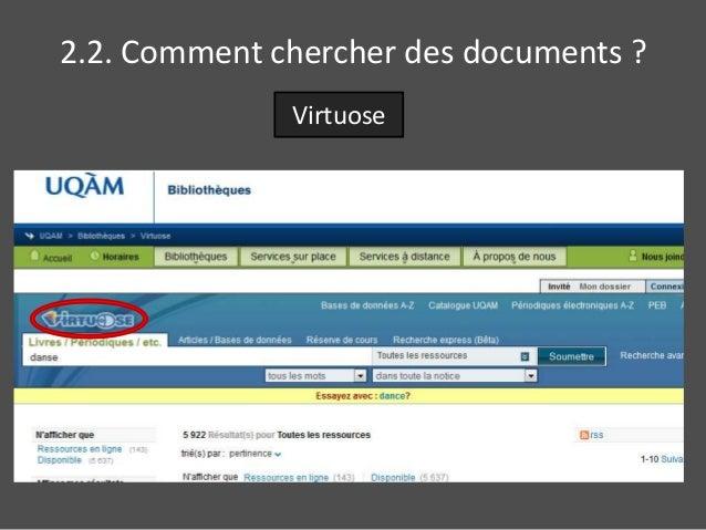 2.2. Comment chercher des documents ?  Virtuose