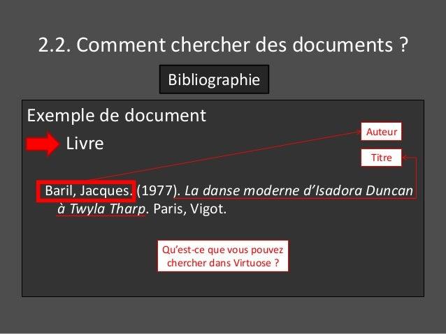 2.2. Comment chercher des documents ?  Bibliographie  Exemple de document  Livre  Auteur  Titre  Baril, Jacques. (1977). L...