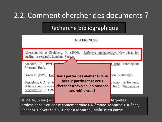 2.2. Comment chercher des documents ?  Recherche bibliographique  Vous partez des éléments d'un  auteur pertinent et vous ...