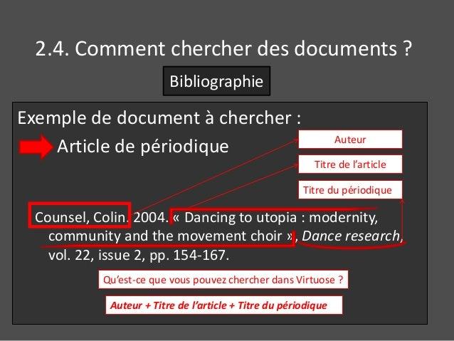 2.4. Comment chercher des documents ?  Bibliographie  Exemple de document à chercher :  Article de périodique  Auteur  Tit...