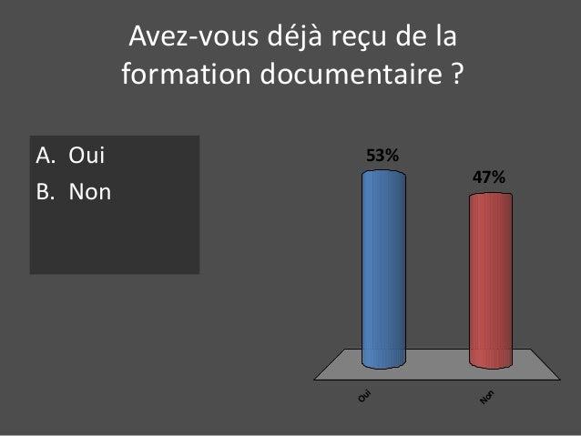 Avez-vous déjà reçu de la  formation documentaire ?  A. Oui  B. Non  Oui  47%  Non  53%