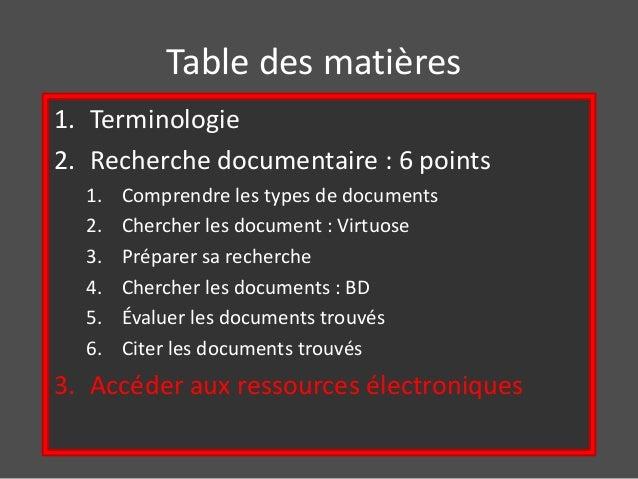 Table des matières  1. Terminologie  2. Recherche documentaire : 6 points  1. Comprendre les types de documents  2. Cherch...