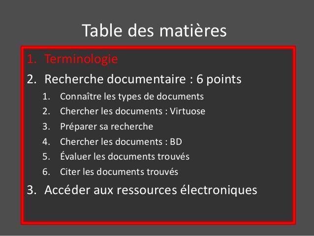 Table des matières  1. Terminologie  2. Recherche documentaire : 6 points  1. Connaître les types de documents  2. Cherche...