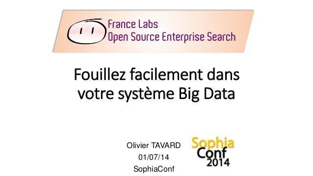 Fouillez facilement dans votre système Big Data Olivier TAVARD 01/07/14 SophiaConf