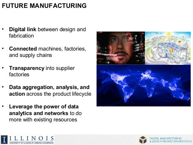 FUTURE MANUFACTURING  • Digital link between design and  fabrication  • Connected machines, factories,  and supply chains ...
