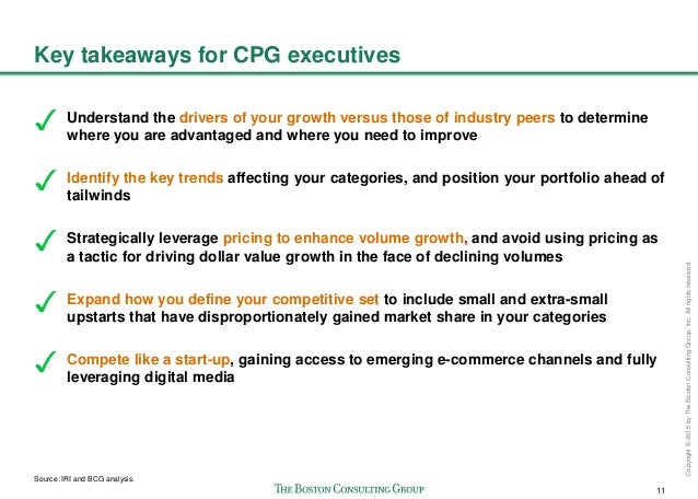 11 Copyright©2015byTheBostonConsultingGroup,Inc.Allrightsreserved. Key takeaways for CPG executives Understand the drivers...