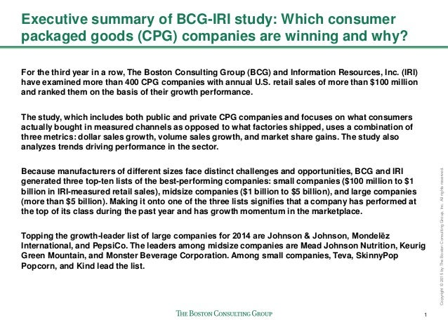 1 Copyright©2015byTheBostonConsultingGroup,Inc.Allrightsreserved. Executive summary of BCG-IRI study: Which consumer packa...