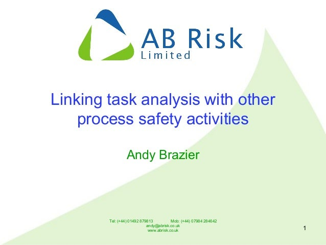 Tel: (+44) 01492 879813 Mob: (+44) 07984 284642 andy@abrisk.co.uk www.abrisk.co.uk 1 Linking task analysis with other proc...