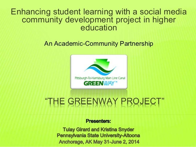 """""""THE GREENWAY PROJECT"""" Enhancing student learning with a social media community development project in higher education An..."""