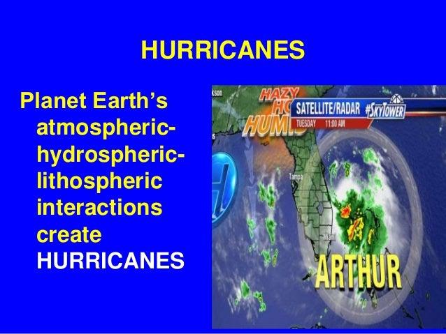 HURRICANES Planet Earth's atmospheric- hydrospheric- lithospheric interactions create HURRICANES