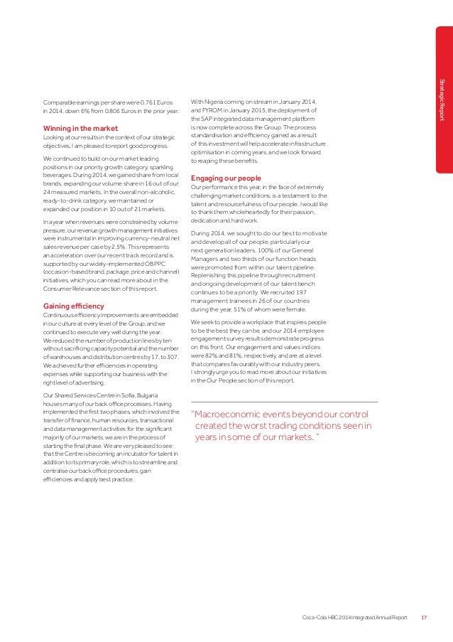 Raport integrat Coca-Cola HBC, 2014