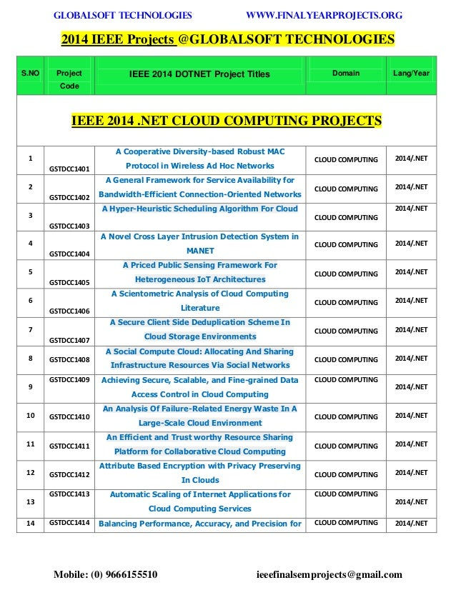 GLOBALSOFT TECHNOLOGIES www.FINALYEARPROJECTS.ORG  Mobile: (0) 9666155510 ieeefinalsemprojects@gmail.com  2014 IEEE Projec...